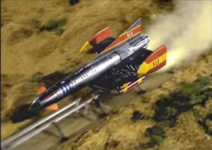 Still frame from a colorized edition of the original 1962 Fireball XL5