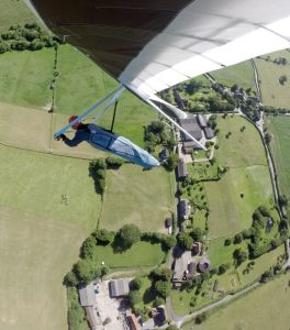 Hang glider over the stables at Belchalwell Street