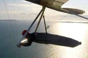 Hang gliding over the sea