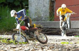 Revell 1/12th scale Husqvarna and Suzuki motocross bikes with Tamiya riders