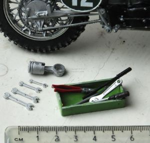 Revell 1/12th scale Husqvarna motocross bike tools and piston