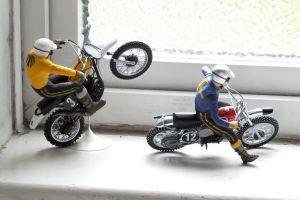 Revell Suzuki and Husqvarna motocross bikes with Tamiya riders