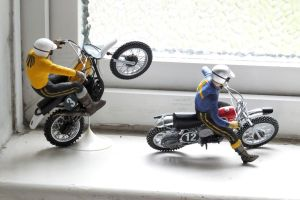 Revell Suzuki and Husqvarna motocross bikes with Tamiya riders