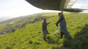 Hang glider ready to launch