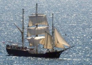 Sailing ship in Ringstead bay