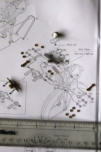 Italeri 9th scale Triumph 3HW Assemblies and parts laid out on plans