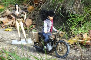 Doll on a Italeri 1/9th scale Triumph 3HW motorcycle