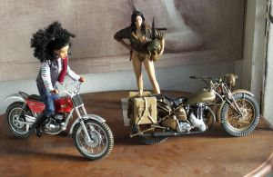 Dolls and 1/9 scale motorcycles