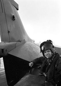 David Morgan and the shell hole in the tailfin of his Sea Harrier