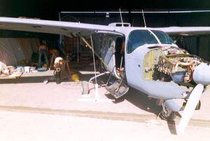 Cessna Skymaster undergoing restoration in 2004