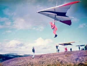 Hang glider launching in strong wind at Merthyr Tydfil, south Wales, in 1978