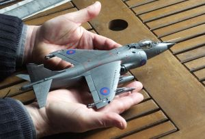 Kinetic 1/48th scale Sea Harrier FRS.1 held in modeller's hands