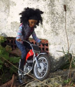 Protar 1/9th scale trials bike ridden by a doll