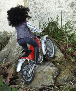 Breyer Nadia doll riding a Protar 1/9th scale Montesa Cota 247 trials bike