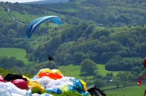 Paragliding at Bell Hill, north Dorset, England, in mid-May