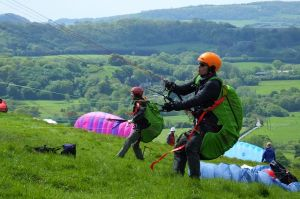 Paraglider pilots undergoing training at Bell Hill