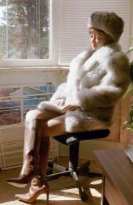 Rebecca Realdoll wearing fur in 2002