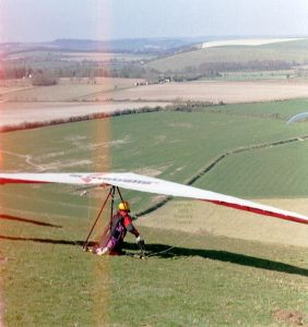 Ron Smith waiting to launch in a hang glider at Monk's Down in early 2003