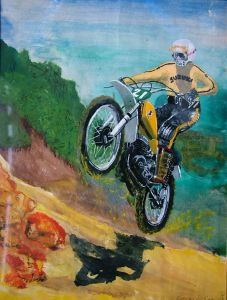 Motocross painting by Everard Cunion