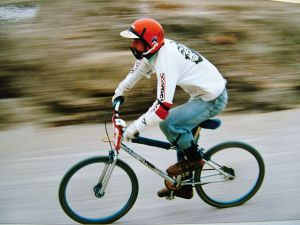 Everard Cunion in a BMX race at Branksome, Poole, in 1986
