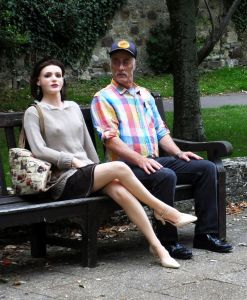 Faina Anatomical Doll sitting with her owner on a park bench in England