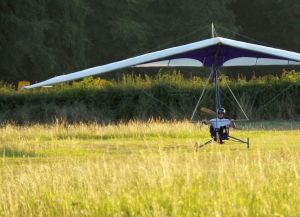 Flex-wing powered ultralight touches down for engine-out landing
