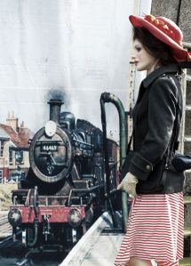 Faina Anatomical Doll with steam locomotive pulling into station