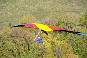 Hang glider in flight