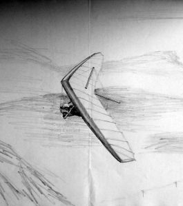 Hang glider in flight, drawn on 5th April, 1995