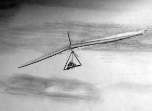 Everard's drawting of a hang glider on 7 April 1995