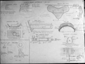 Early 1970s downhill bike small parts design by Everard Cunion