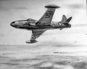 Drawing of an F-80 in the war in Korea