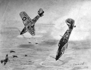 Drawing of Hawker Hurricanes in the Battle of Britain, summer 1940