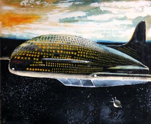 Painting of a futuristic passenger space shuttle