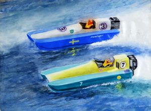 Painting of two one-person powerboats