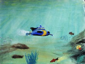 Painting of Stingray pursued by a mechanical fish
