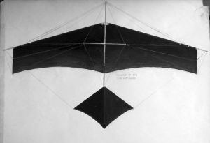 My V-tail mono-wing hang glider that I designed and built over the winter of 1975-7