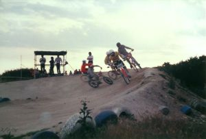 BMX bikes cornering at the Iford track, near Bournemouth, in July 1986