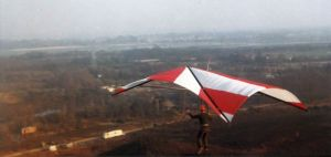Hang glider launching St. Catherine's Hill, Christchurch, Dorset, UK, in 1975