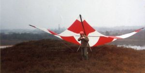 Preparing to launch in a hang glider flying St. Catherine's Hill, Christchurch, Dorset, UK, in 1975
