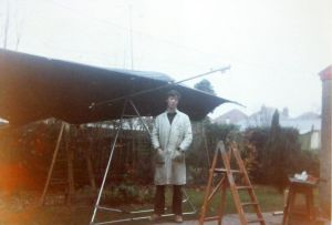 Experimental hang glider under construction in a back garden in December 1975