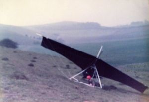 Experimental hang glider crash at Monk's Down in December 1975