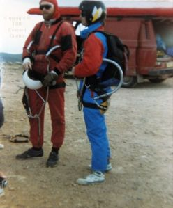 Hang glider skydive crew, Lanzarote, January or February 1989