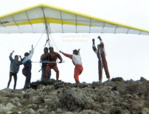 Hang glider skydive launch, Lanzarote, January or February 1989