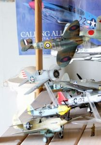 Tamiya Spitfire 1 on display again after the repaint of upper surfaces in Valejo acrylics