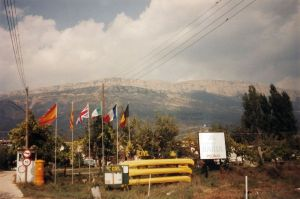 Campsite at Ager, northern Spain, in September 1989