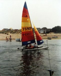 Catamaran at the Run, Christchurch, Dorset, in 1988 or '89