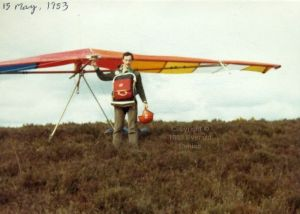 Everard Cunion with modified Birdman Moonraker 78 in 1983