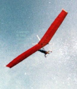 Ian Grayland flying the Southdown Sailwings 12 metre Sigma in 1980