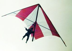Standard Rogallo hang glider flying in Britain in 1975